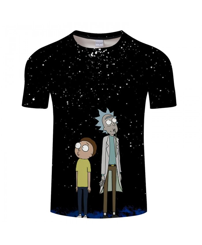 Digital Rick And Morty 3D Print t shirt Men Women tshirt Summer Anime Short Sleeve O-neck Tops&Tees Black Drop Ship