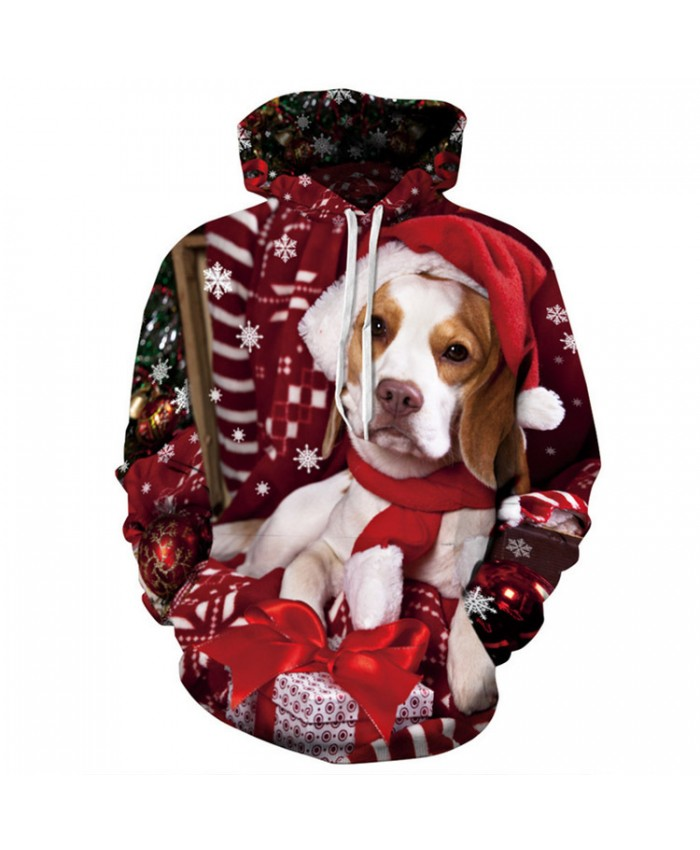 Dog Wearing A Hat Christmas Hoodies 3D Sweatshirts Men Women Hoodie Print Couple Tracksuit Hooded Hoody Clothing