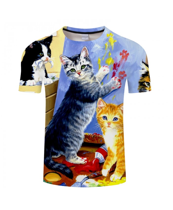 Double-Cat Print 3D T shirts Men Women tshirts Summer Cartoon Short Sleeve O-neck Tops&Tees 2018 Lovely Drop Ship