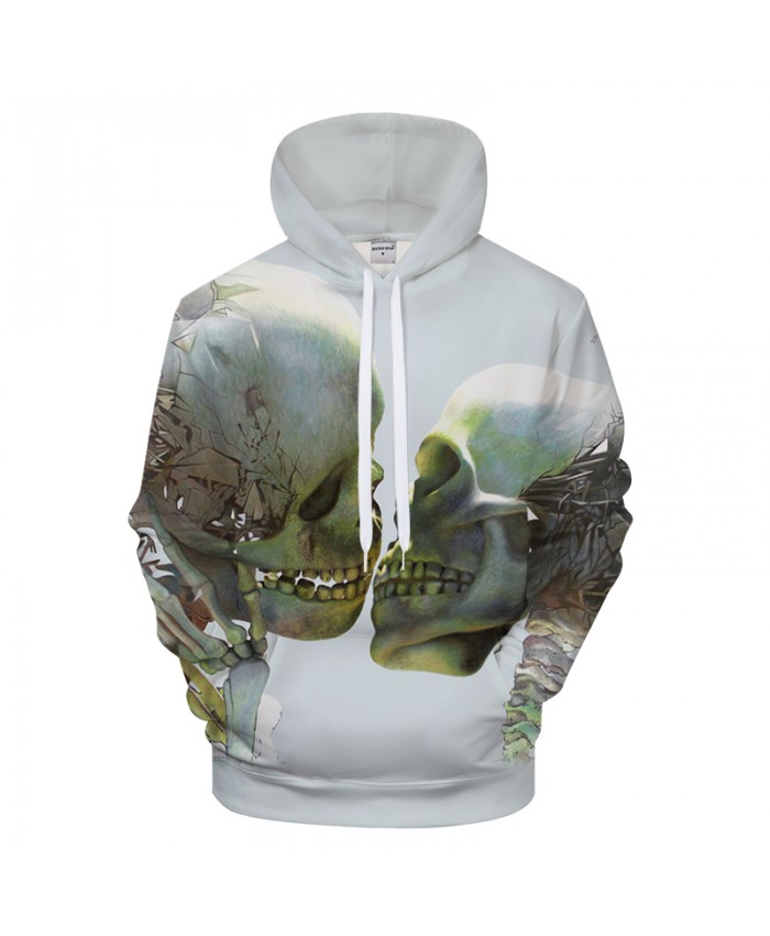 Double Skull 3D Print Hoodies Men Women Tracksuit Summer Casual Long Sleeve Sweatshirt Pullover 2018 New Drop Ship