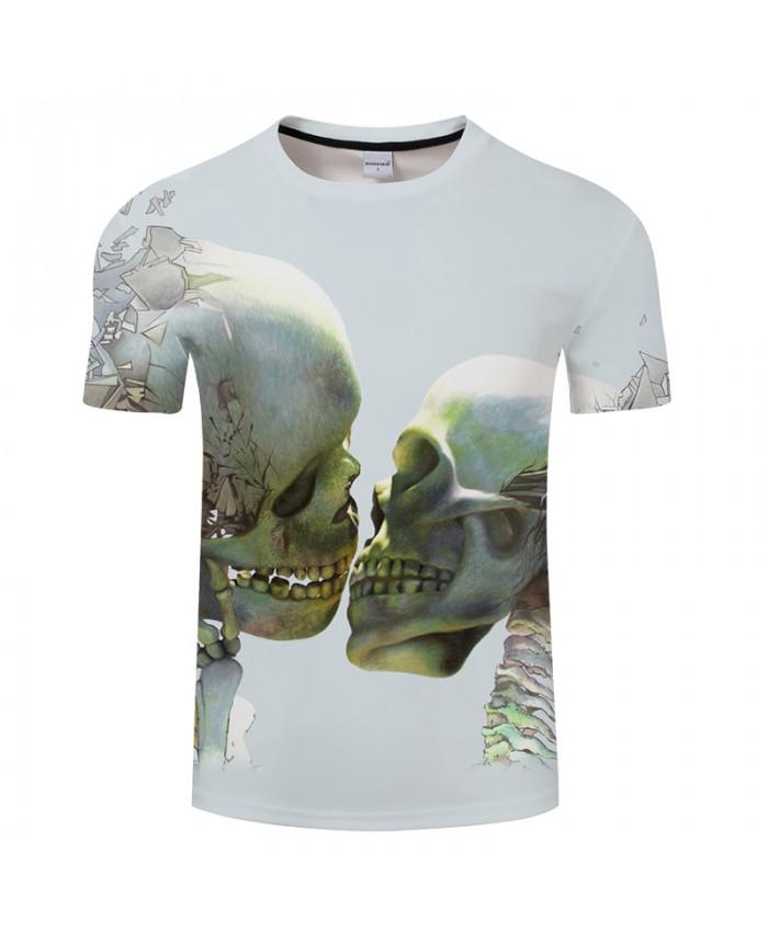 Double Skull 3D Print t shirt Men Women tshirt Summer Funny Short Sleeve O-neck Tops&Tees Camisetas Loose Drop Ship