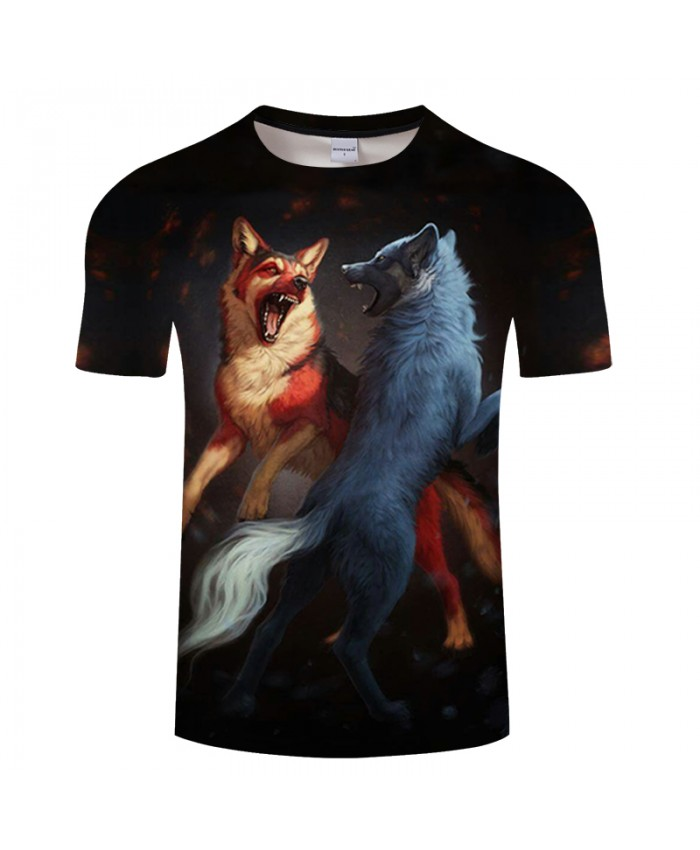 Double Wolf 3D Tshirts Groot T Shirt Casual T-shirts Summer Tees Short Sleeve Tops Streatwear Brand Tees Drop Ship
