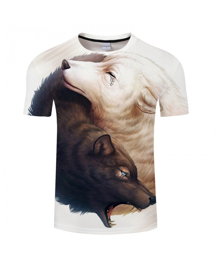 Double-Wolf Lovers 3D Print t shirt Men Women tshirt Summer Casual Short Sleeve O-neck Tops&Tee White 2018 Drop Ship