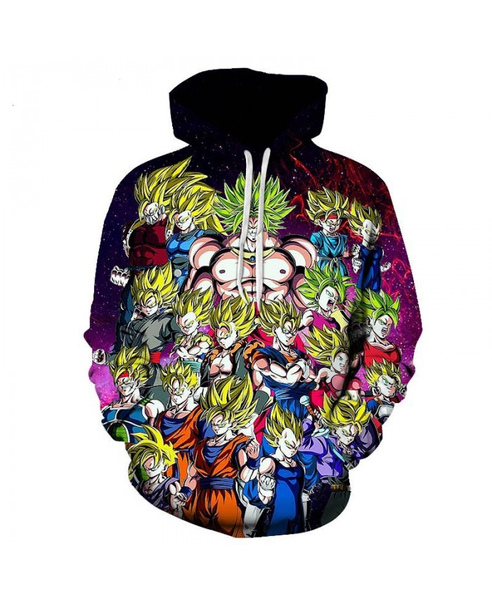 Dragon Ball Z 3D Printed Hooded Sweatshirts Men Women Cartoon Dragon Ball Super Boy/Girl Cool Polluver Casual Streetwear Hoodie C