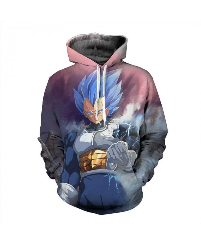 Dragon Ball Z Hooded Sweatshirts Men Animation Cartoon Vegeta Printed 3D Hoodies Long Sleeve Jacket Casual Tracksuit Outwear