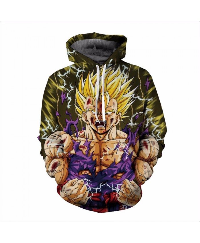 Dragon Ball Z Super Saiyan hooded sweatshirt Goku 3D All Over Print Pullover Hoodies Casual Cartoon Hoodie