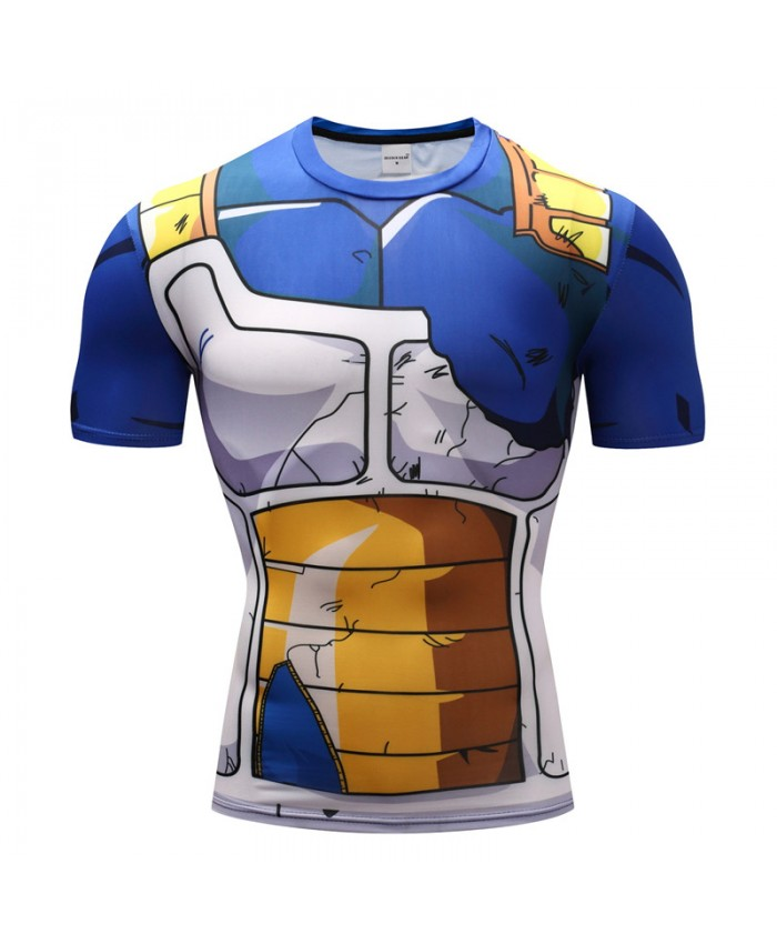 2018 Dragon Ball Z T shirts Men Compression Shirts Anime Short Sleeve T-shirt Fitness Tops Vegeta Goku Cool Funny Fitness Tshirts A