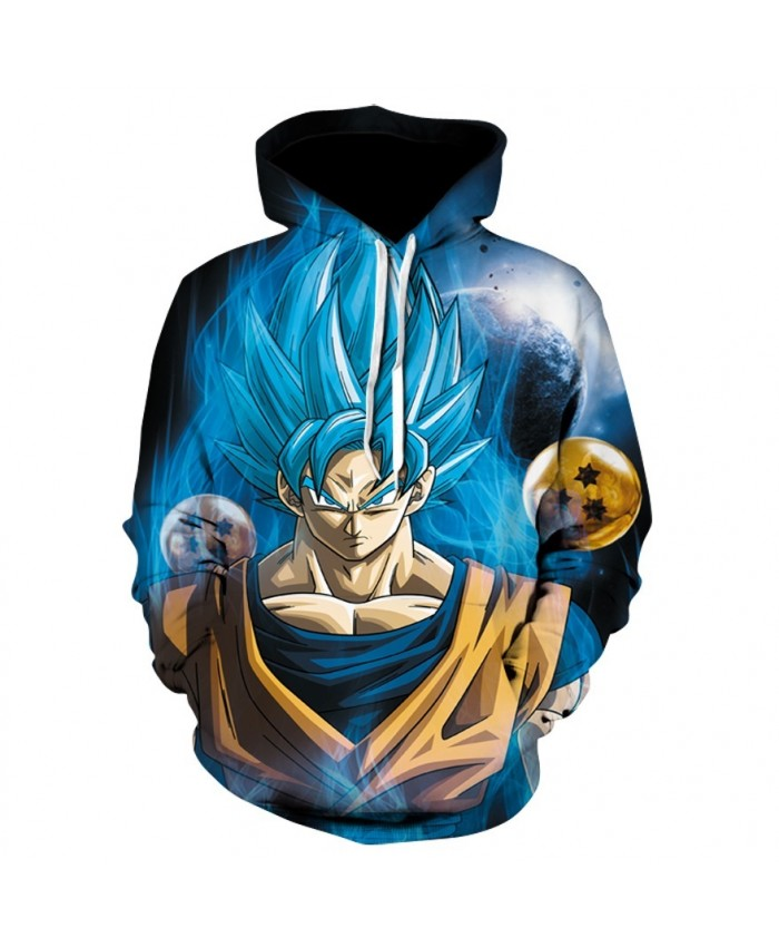 Dragon Ball outbreak Goku transformation Blue hair 3D Hoodies Pullovers Men Women Long Sleeve Outerwear New Hoodie