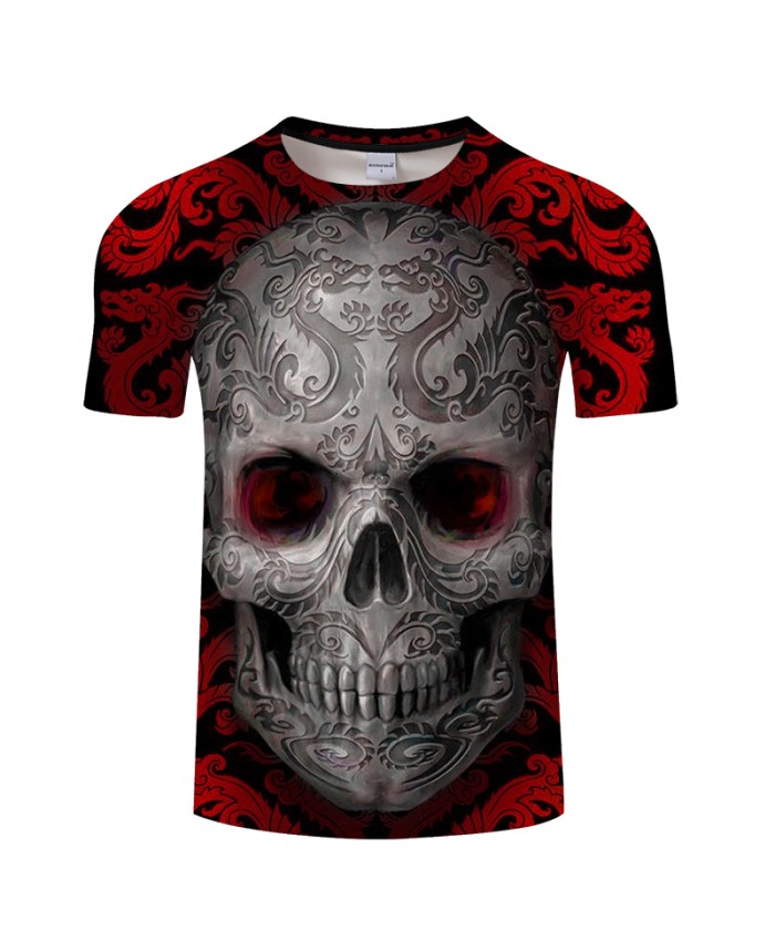 Dragon Design On Skull 3D Print t shirt Men tshirt Summer Funny Short Sleeve O-neck Tops&Tee Red Hot Drop Ship