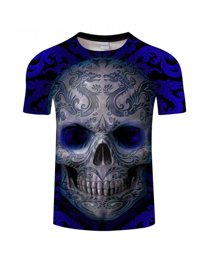Dragon Design&Skull 3D Print t shirt Men Women tshirt Summer Casual Short Sleeve O-neck Tops&Tee Blue Hot Drop Ship