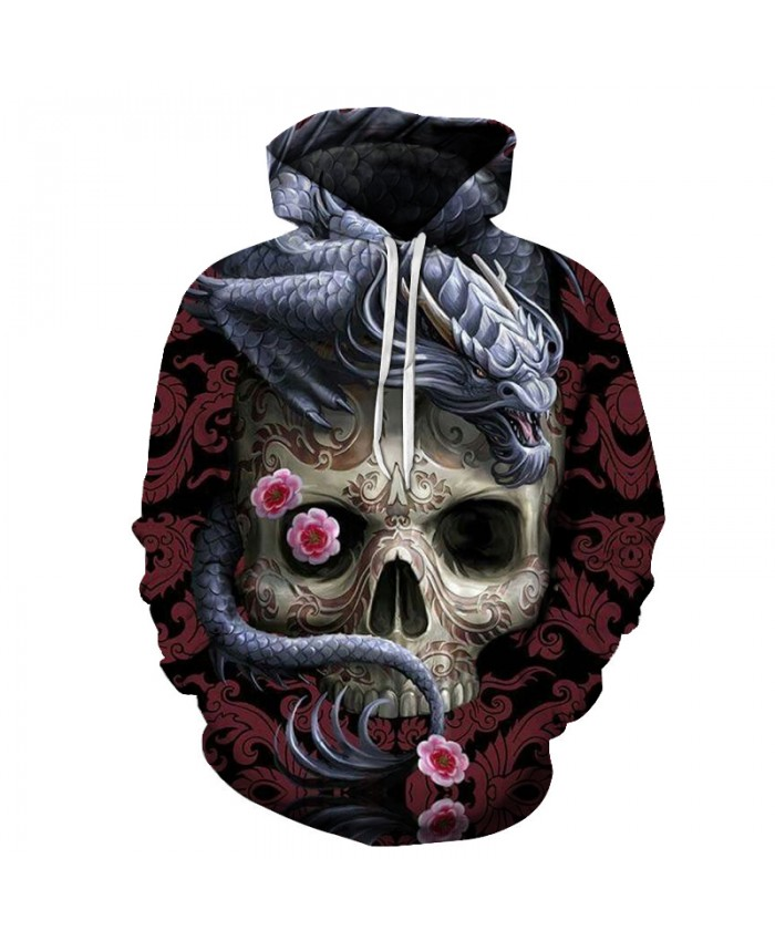 Dragon Skull 3D Print Hoodies for Men Drop Ship Flower Hoody Pullover Autumn Winter 2021 Streetwear Tracksuit