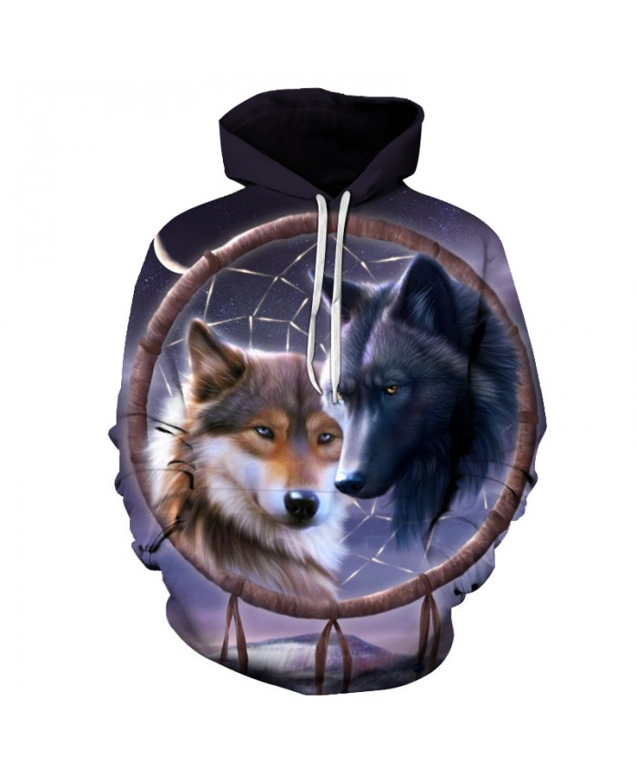 Dreamcatcher Wolf 3d Hoodies Men Women Pullover Fashion Sweatshirts Male Tracksuits Casual Pullover Pocket Jackets Hooded Coat