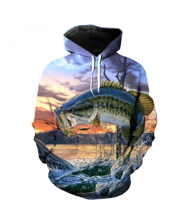 Dusk River Flying Fish Print Fashion Fun Hooded Pullover sportswear Men Women Casual Pullover Sportswear