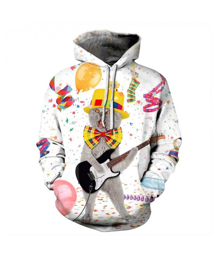 EU Size Christmas Cat Guitar Hoodie Sweatshirt Men Women 2019 Fashion Hip Hop Pullover Hoody Tops Casual Sportswear Tracksuit