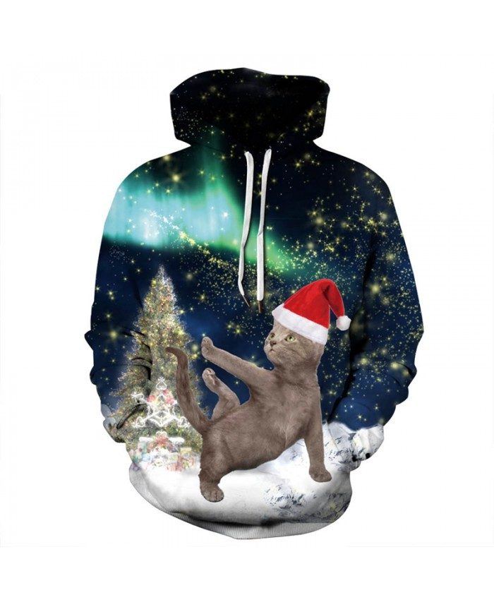 EU Size Christmas Tree Cat 3D Hoodies Sweatshirts Men Women Autumn Winter Clothing Pullover Hoody Tops Tracksuit Plus Size