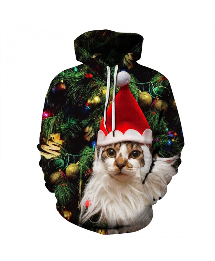EU Size Christmas Tree Cute Cat Hooded Sweatshirts Men Women Sportswear Pullover Tracksuit All Over Printed 3D Hoodie Hoodies