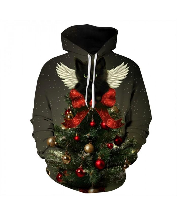 EU Size Galaxy Black Cat Christmas Hoodie Men Women Autumn Winter Sportswear Tracksuit Casual 3D Pullover Hooded Sweatshirts