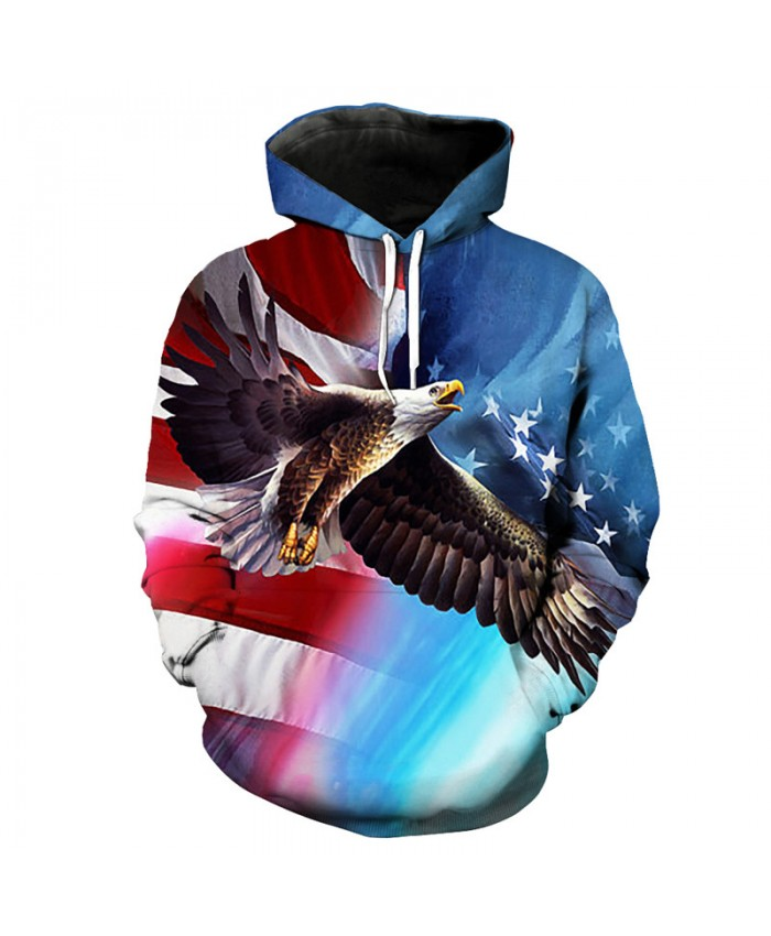 Eagle American Flag Print Funny Blue Hooded Sweatshirt Fashion Pullover Casual Hoodie Autumn Tracksuit Pullover Hooded Sweatshirt