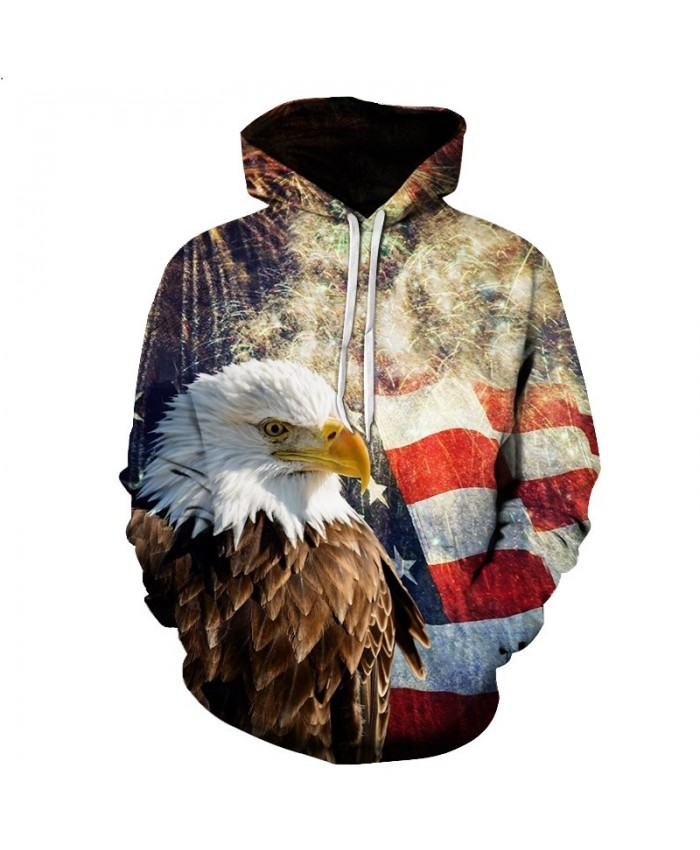 Eagle Print 3D Hoodies Men Sweatshirt Fashion American Flag Hooded Sweats Tops Hip Hop Unisex Pullover