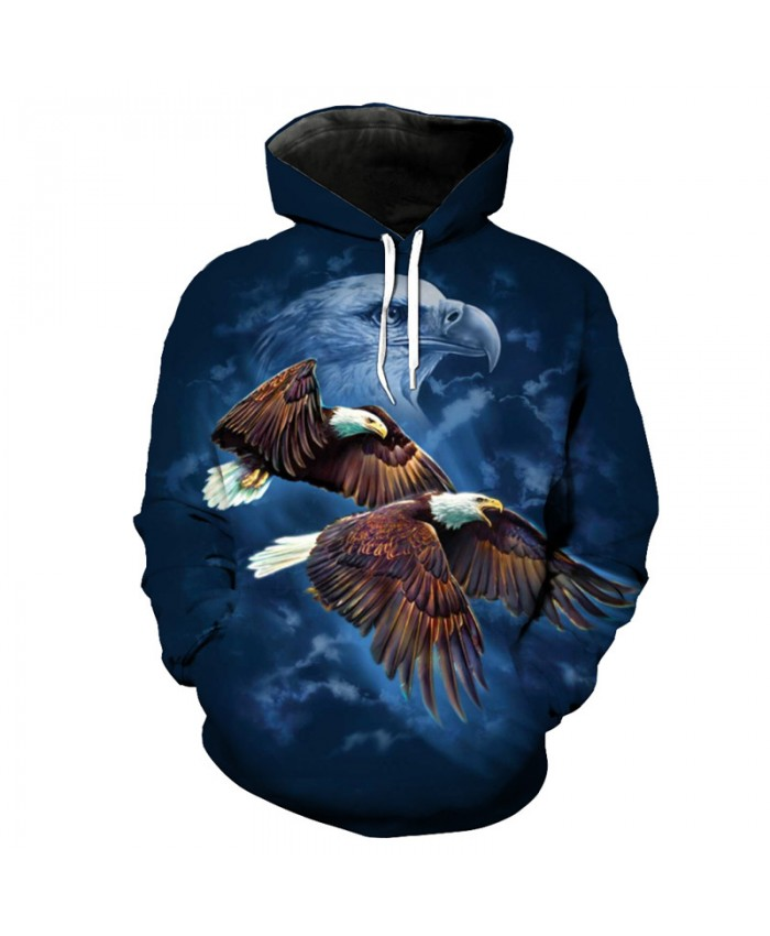 Eagle Print Blue Hooded Sweatshirt Pullover Fashion Sportwear Casual Hoodie Autumn Tracksuit Pullover Hooded Sweatshirt
