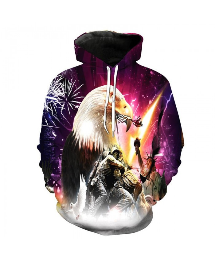 Eagle Soldier Print Fashion Hooded Sweatshirt Women Men Casual Hoodies Casual Hoodie Autumn Tracksuit Pullover Hooded Sweatshirt