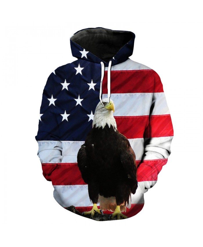 Eagle Style American Flag Print Hooded Sweatshirt Pullover Casual Hoodie Autumn Tracksuit Pullover Hooded Sweatshirt