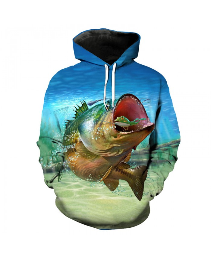 Eat Hook Fish Print 3D Hoodie Latest Cool Sportswear Men Women Casual Pullover Sportswear