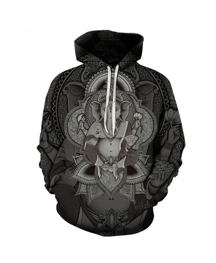 Elephant Art Unisex Hoodie 3D Print Sweatshirts Pullover Harajuku Mens Hoody Streetwear Coat for Autumn