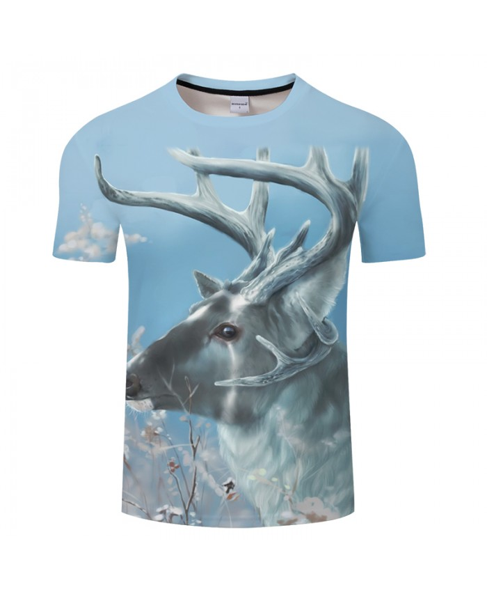 Elk 3D AnimalPrint t shirt Men Women tshirt Summer Casual Short Sleeve O-neck Tops&Tee Harajuku 2018 New Drop Ship
