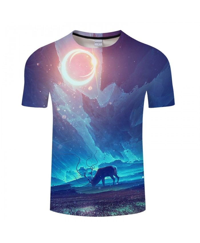 Elk&Grassland 3D Print t shirt Men Women tshirt Summer Anime Short Sleeve O-neck Tops&Tee Camisetas Light Drop Ship
