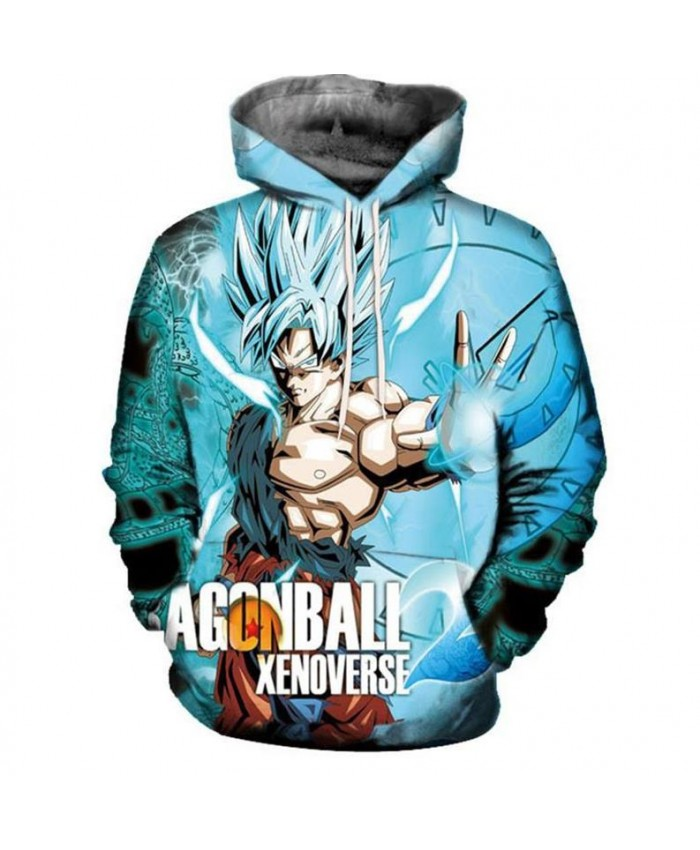 Europe and the United States foreign trade 3D anime men's printing hooded pockets hooded sweater men's tide super Saiyan blue cartoon sweater