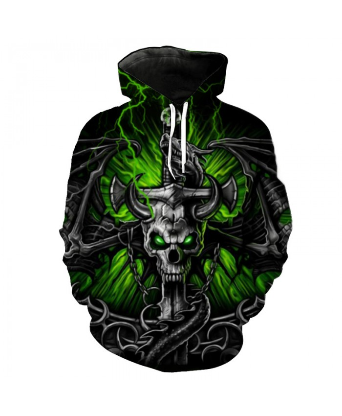 Evil Sword Hooded Shirt Dragon Skull Print Green Lightning Fashion Hoodie 2019 Street Pullover Tracksuit Pullover Hooded Sweatshirt