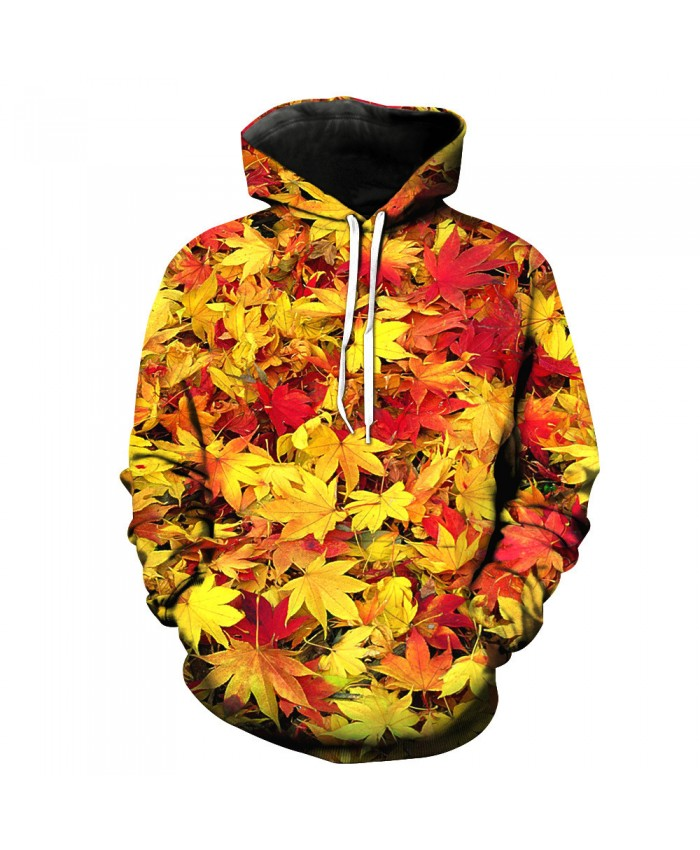 Exquisite Foliage 3D Printing Fashion Hooded Sweatshirts Maple Leaf Pattern Men and Women Sportswear A