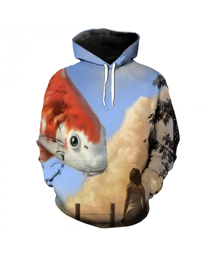 Fairy blue sky flying goldfish print fun hooded sweatshirt pullover Men Women Casual Pullover Sportswear