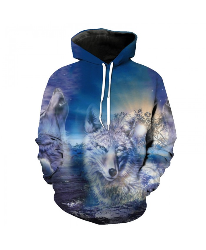 Fantasy Forest Wolf Print Fashion Hooded Pullover Neutral Sweatshirts Men Women Casual Pullover Sportswear