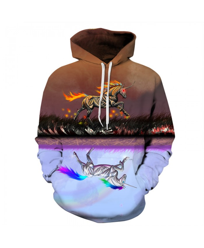 Fashion 3D Men's Hoodies Anime Colorful Fire Runs Unicorn Printing Casual Hoodie Autumn Tracksuit Pullover Hooded Sweatshirt