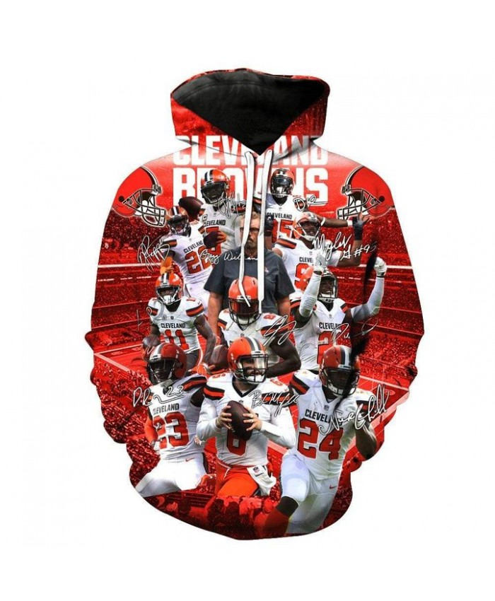 Fashion 3D NFL American Football Cleveland Browns Hoodie Cool Sweatshirt Streetwear