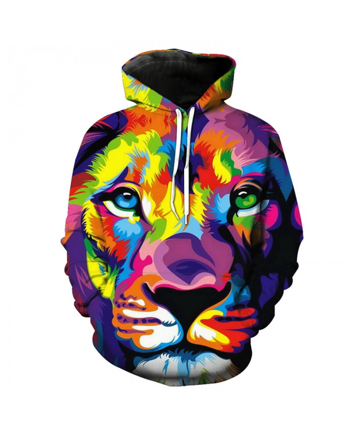 Fashion 3D Painted Lion Printing Fashion Hooded Sweatshirt Casual Hoodies Casual Hoodie Autumn Tracksuit Pullover Hooded Sweatshirt