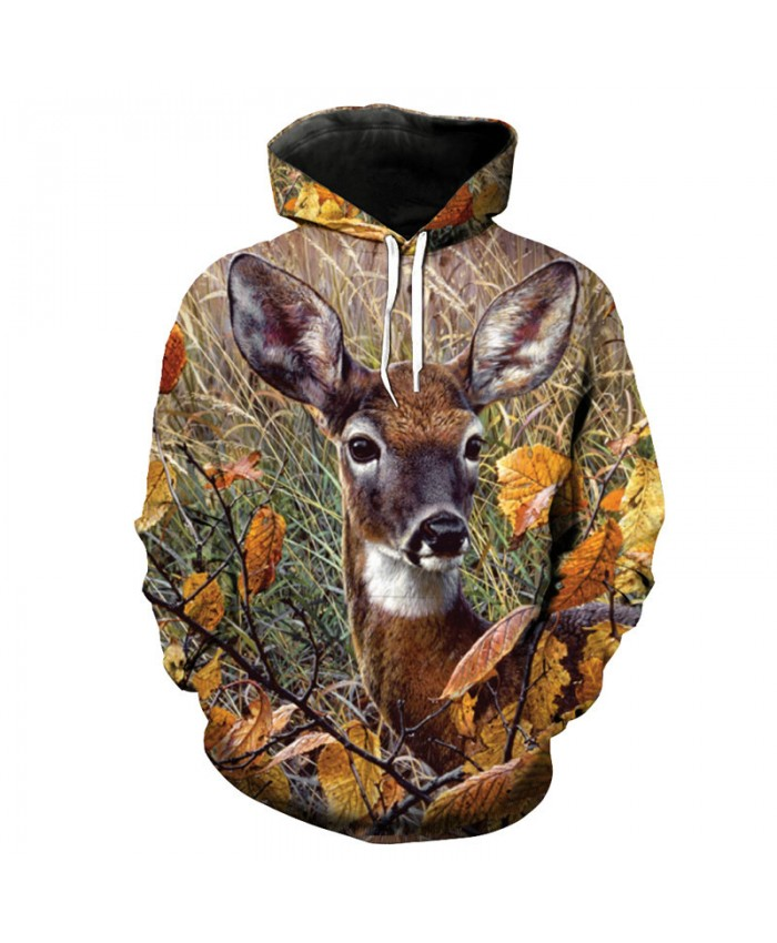 Fashion 3D Prairie deer Print Fun Hooded Sweatshirt Pullover