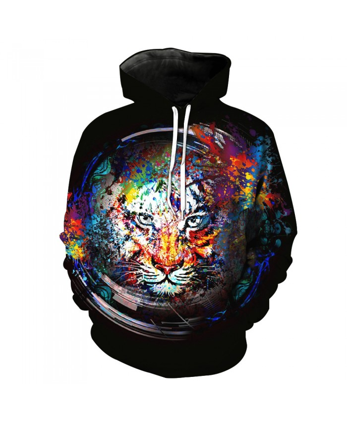 Fashion 3D Print Men's Sportswear Sputtering Paint Tiger Inside the Cup Hooded Casual Hoodie Autumn Tracksuit Pullover Hooded Sweatshirt