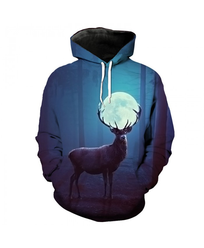 Fashion 3D Sweatshirt Moon Reindeer Print Hooded Pullover