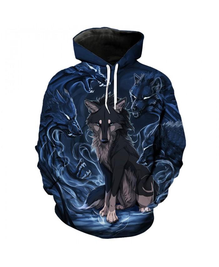 Fashion 3D cartoon wolf print cool hooded pullover sweatshirt Men Women Casual Pullover Sportswear