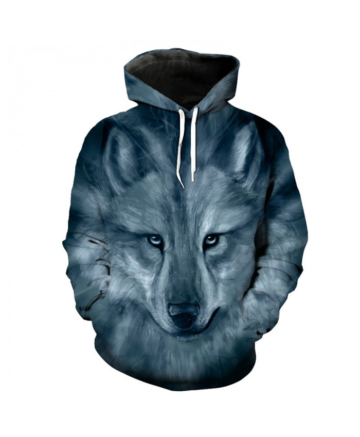Fashion 3D hoodie gray wolf print casual hooded pullover sweatshirt Men Women Casual Pullover Sportswear