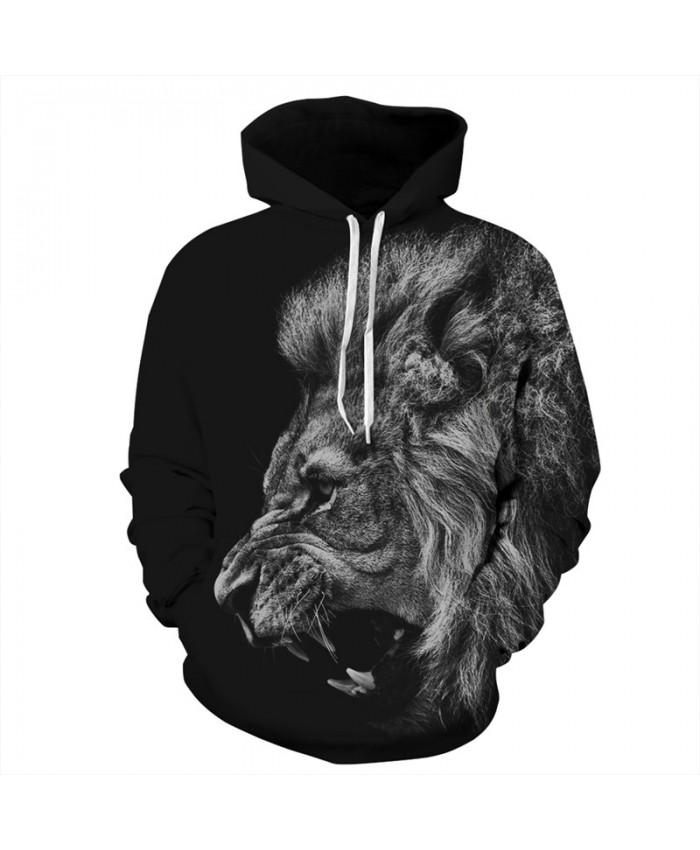 Fashion 3d Men's Hoodies Angry Roar Lion Print Hooded Sweatshirt Autumn Men Women Casual Pullover Sportswear