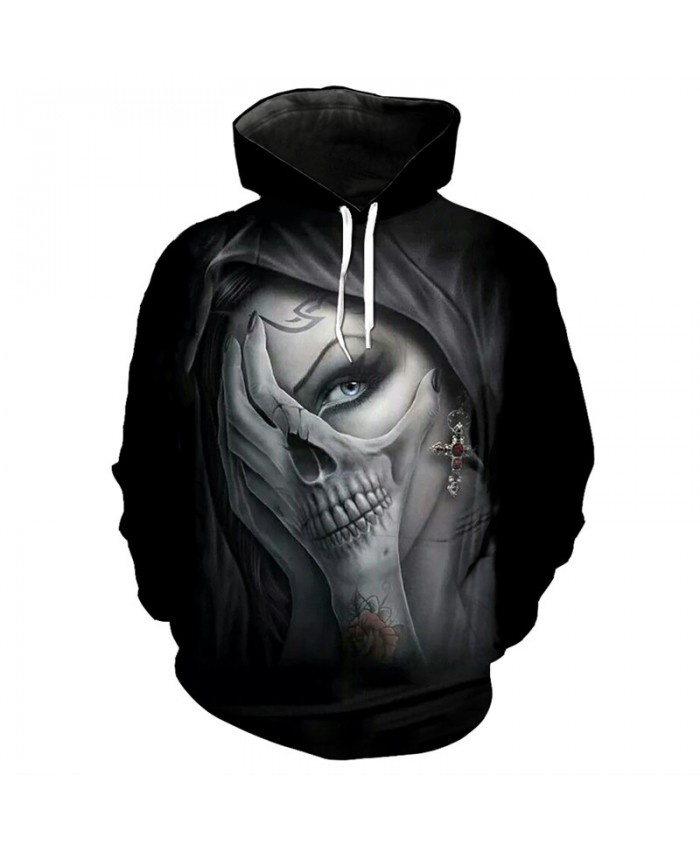 Fashion 3d skull series hooded sweatshirt streetwear beauty skull print fun pullover Tracksuit Pullover Hooded Sweatshirt