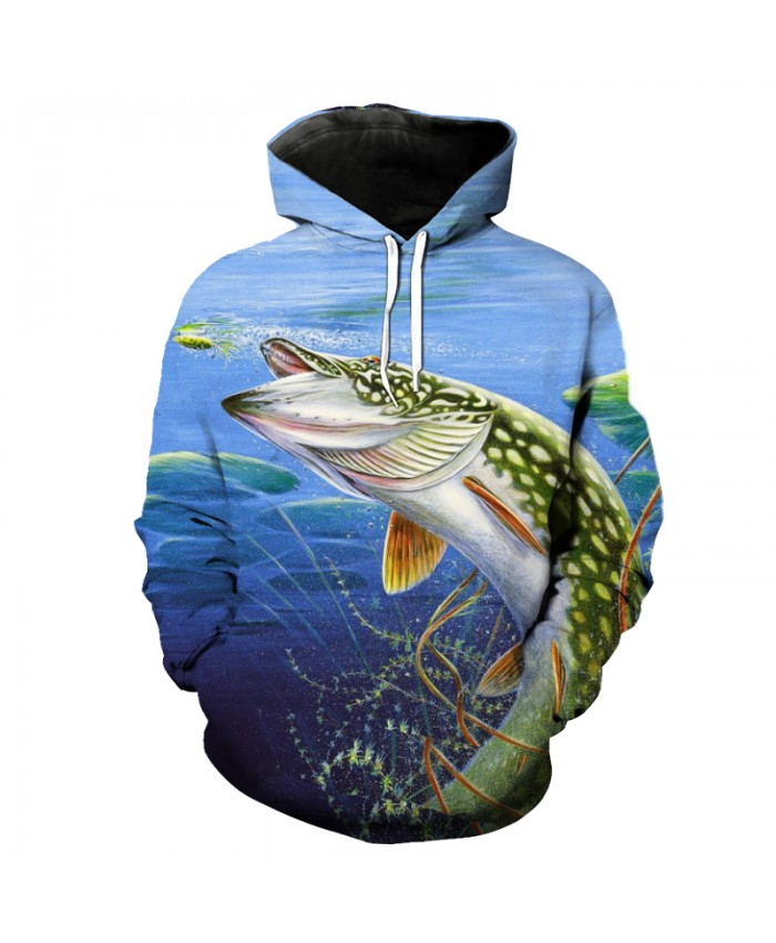 Fashion Blue Hooded Sweatshirt Fish Print Fun Pullover Sportswear Men Women Casual Pullover Sportswear