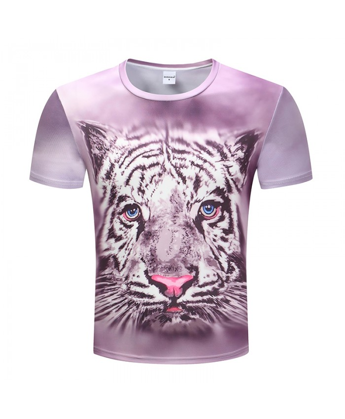 Fashion Brand Animal 3D Print T Shirts O Neck Short Sleeves Cotton Tiger Men T-shirt Casual Man Tees Mens Tops Plus Size