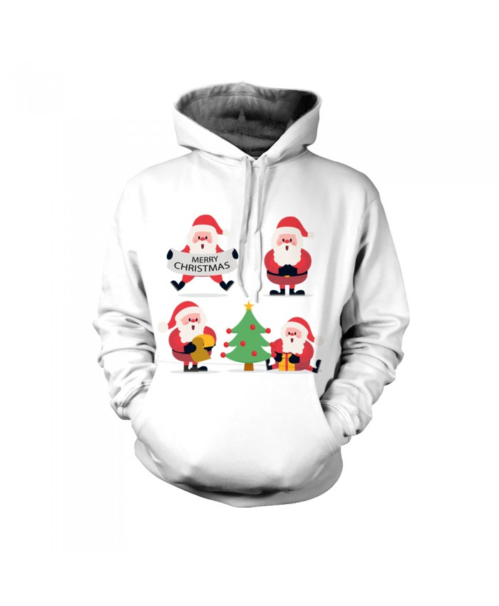 Fashion Christmas Hoodie Sweatshirt Christmas Funny The design of four Santa Claus and a Christmas tree 3D Casual Hoodie Clothing