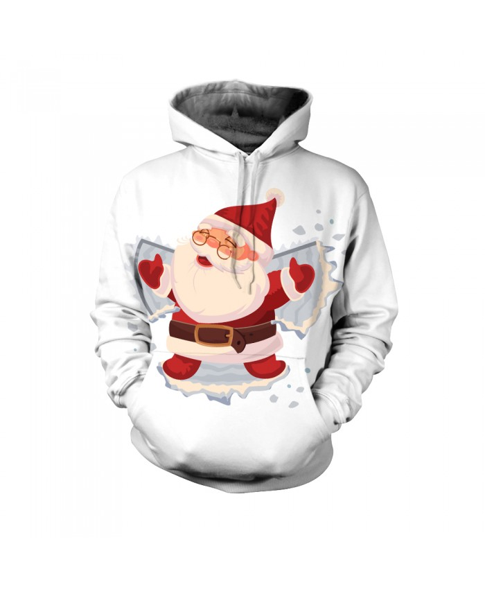 Fashion Christmas Hoodie Sweatshirt Christmas Funny The pattern of Santa with glasses on Christmas Day 3D Casual Hoodie Clothing