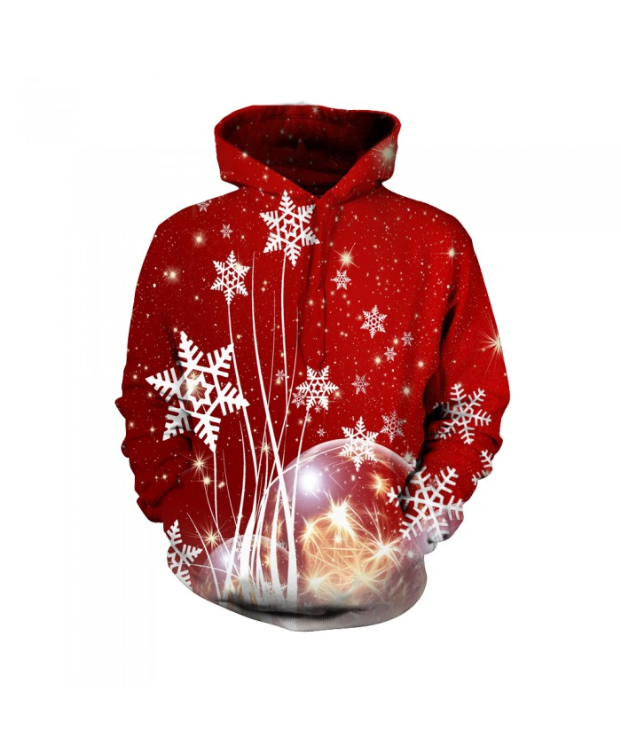Fashion Christmas Hoodie Sweatshirt Female Christmas Funny Christmas balloon and snowflake red pattern 3D Casual Hoodie Clothing